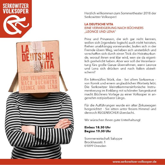"""Bild für LA DEUTSCHE VITA – Eine Verweigerung nach Büchners """"Leonce und Lena"""" - PREMIERE"""