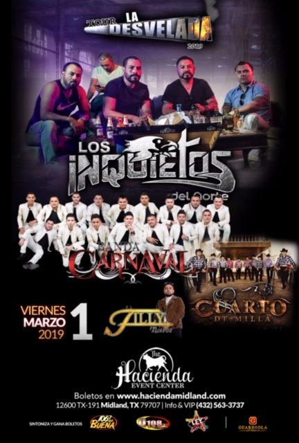 "Image for LA HACIENDA EVENT CENTER PRESENTA: LOS INQUIETOS DEL NORTE Y BANDA CARNAVAL ""TOUR LA DESVELADA"