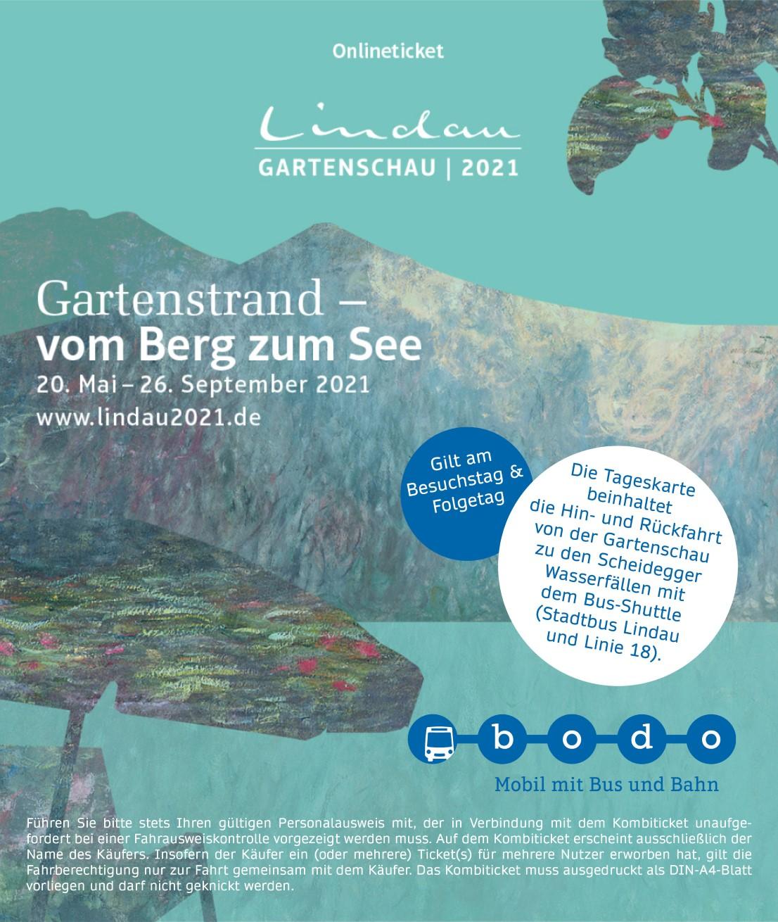 Image for KombiTicket Gartenschau Lindau + Scheidegger Wasserfälle + BusShuttle